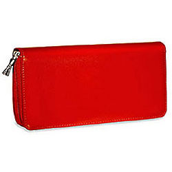 Milano Red Leather Zippered Clutch
