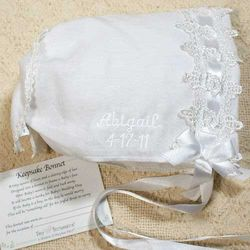 Embroidered Keepsake Baby Hankie Bonnet