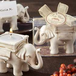 Lucky Elephant Antique Ivory-Finish Tea Light Holders