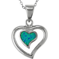 Blue Lab-Created Opal Heart Pendant in Sterling Silver
