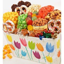 Popcorn, Snacks, and Sweets in Tulip Gift Basket