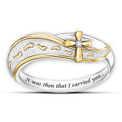 Footprints in the Sand Diamond Cross Ring