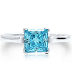 Sterling Silver Princess Blue Topaz Cubic Zirconia Solitaire Ring