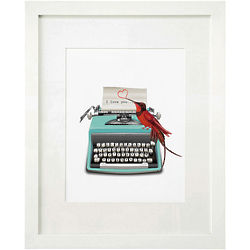 I Love You Personalized Vintage Typewiter Framed Print