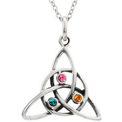 3 Birthstone Celtic Trinity Knot Necklace