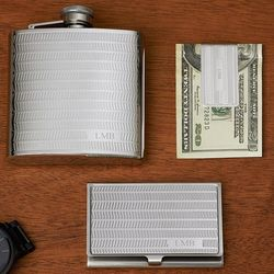 Personalized Flask, Money Clip, and Business Card Case Gift Set