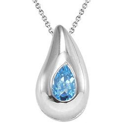 Pear Swiss Blue Topaz Drop Pendant in Silver