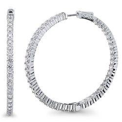 """1.7"""" Sterling Silver CZ Inside-Out Hoop Earrings"""