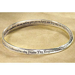 Lord's Prayer Mobius Sterling Silver Bracelet