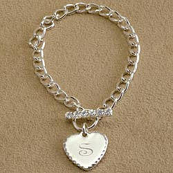 Silver Heart Charm Bracelet with Toggle Closure