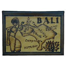 Bali Map Leather Photo Album in Natural