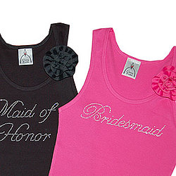 Bridal Party Boyfriend Tank with Removable Flower