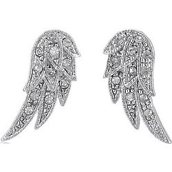 Silver Tone Angel Wings Stud Post Earrings