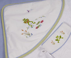 Froggy Pond Hooded Towel and Mitt