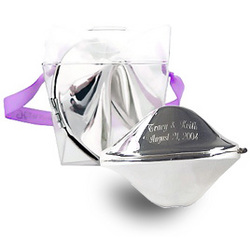 Engraved Silver Fortune Cookie in Takeout Box