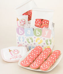 Baby Girl Gift Basket with Mini Cookies & Bib