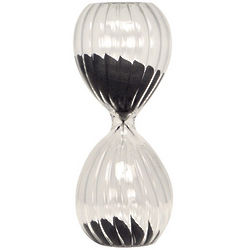 Twisted Glass Sand Timer with Black Sand