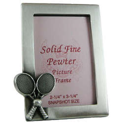 Crossed Tennis Rackets Small Pewter Picture Frame