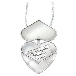Engraved Heart Locket Pendant with Diamond Accent for Daughter