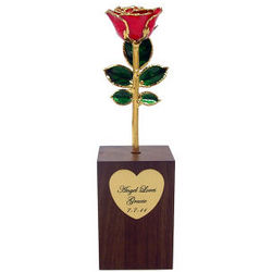 24K Gold Promise Rose with Walnut Vase