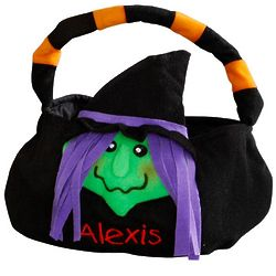Personalized Witch Trick or Treat Plush Basket