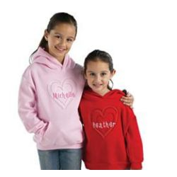 Embossed Heart with Embroidered Name Hoodie