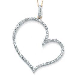Round Diamond 10K Yellow Contemporary Heart Pendant