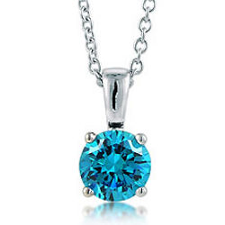 Sterling Silver Round CZ Solitaire Pendant Necklace