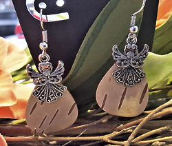 Hand Crafted Birch Bark Angel Earrings