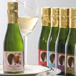 Personalized Photo Filigree Champagne Bottle Wedding Favors
