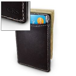 Monogrammed Black Leather Card Holder with Money Clip