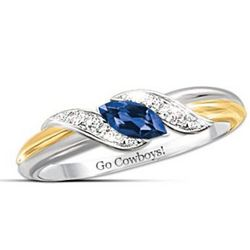 Dallas Cowboys Blue Sapphire and White Topaz Women's Ring