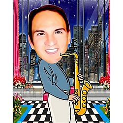 Custom Saxophone Caricature with City Backdrop