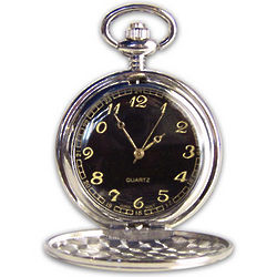 Personalized Silver Pocket Watch with Black Face