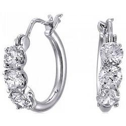 """Sterling Silver CZ 3-Stone 1/2"""" Hoop Earrings"""