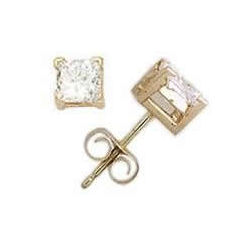 5/8ct Princess Diamond Solitaire Earrings in 14k Yellow Gold