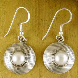 """Morning Kiss"" Pearl Dangle Earrings"