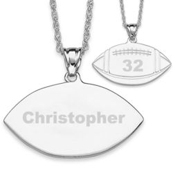 Personalized Silvertone Engraved Football Pendant