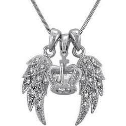 Silver Tone Angel Wings with Crown Necklace