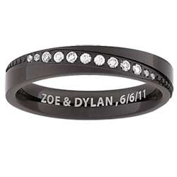 Ladies' Black Titanium Diagonal Cubic Zirconia Engraved Band
