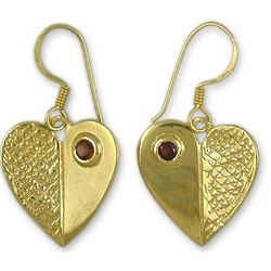 Surrender to Love Gold Vermeil Garnet Heart Earrings