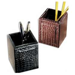 Crocodile Leather Pencil Cup