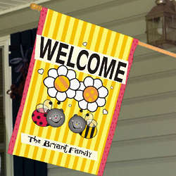 Personalized Welcome Bee House Flag