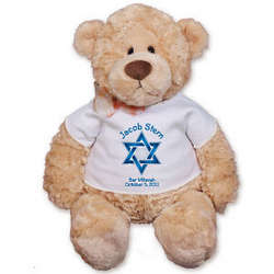 Personalized Blue Star of David Teddy Bear