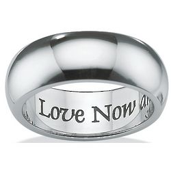 Love Now and Forever Stainless Steel Wedding Band