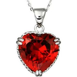 Ruby Red Cubic Zirconia Sterling Silver Heart Pendant