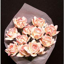 1 Dozen Peaches and Cream Paper Roses