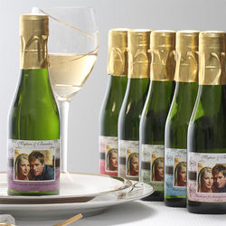 Damask Design Personalized Wine Bottle Favors