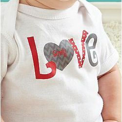 Personalized Chevron Love Heart Bodysuit