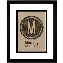 Personalized Family Monogram Burlap Art Print